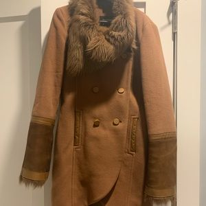 Mackage Double Breasted Wool/Shearling Coat